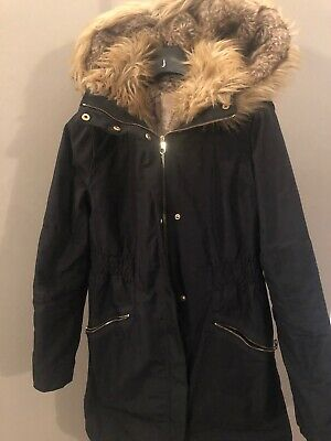 Womens/Girls Ted Baker Winter quilted Black Hooded Faux Fur Parka Coat Sz 0 6/8