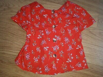 Girls ZARA Top - 8 Years - Red With Flowers