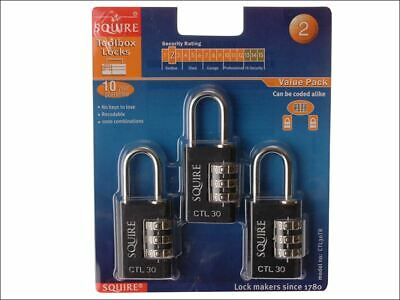 Toughlock Re-Codeable Black Combination Padlock 30mm (Pack of 3) HSQCTL30TR