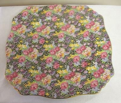 Vintage Chintz Royal Winton Hazel Square Dinner Plate Black with Florals