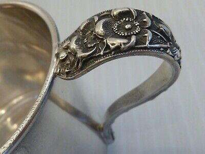 "1942 Stieff ""Forget-Me-Not"" Sterling Baby Cup Repousse Handle Engraved ""Richard"""