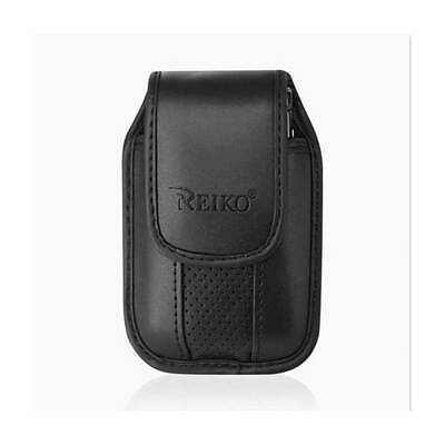 Black Leather Case with pinch clip fits Jethro SC318 flip Phone