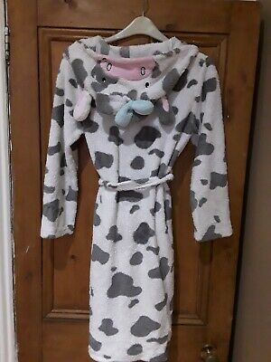 """Girls Primark Grey & White """"Cow"""" Dressing Gown Age 11-12 Years"""