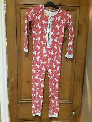 """Girls John Lewis Pink """"Dog """" All In One Sleepsuit Age 9 Years"""