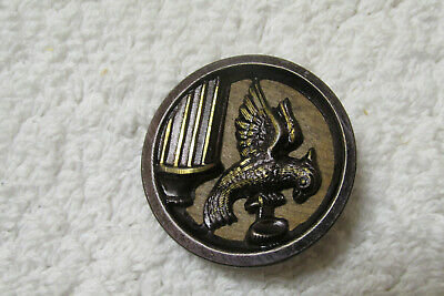 """Amazing Antique~ Vintage WOOD Back Tinted Metal Picture BUTTON Bird 1- 1/4"""" (D)"""