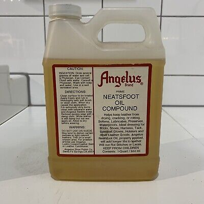 LARGE 2 PINT QUART Angelus MADE IN USA NEATSFOOT OIL softens & preserves Leather