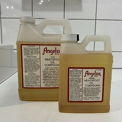 LARGE PINT & QUART Angelus MADE IN USA NEATSFOOT OIL softens & preserves Leather