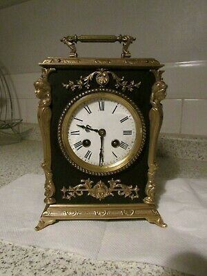 Antique Ebony and Ormolu French Carriage Clock For Restoration