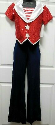 Red White Stars Top Navy Blue Pants Patriotic Dance Costume 2 pc Large Child NWT