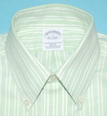 Brooks Brothers slim fit S key lime green stripe lamb logo non iron shirt (g8j6