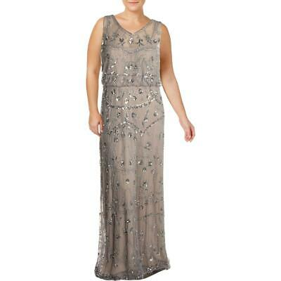 Adrianna Papell Womens Gray Sequined Evening Dress Gown Plus 22W BHFO 7654