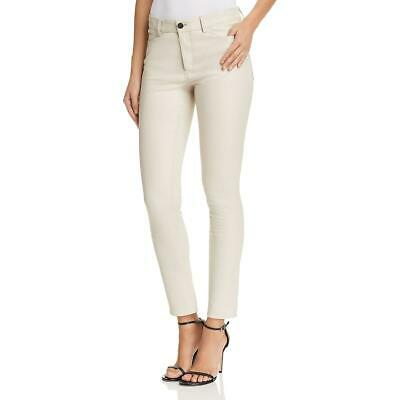Theory Womens Bristol Ivory Leather Skinny Ankle Pants 4 BHFO 7503