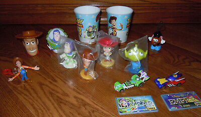 Toy Story Disney Lot: Cups, Bobble Heads, Die Cast Cars, Bottle Toppers, More