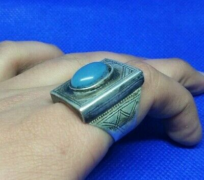 Extremely Ancient Viking Silver Ring Amazing Stone Runic Ornament VERY RARE