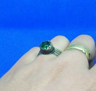 Rare Ancient medieval viking Bronze Ring With Stone Musueum Quality Artifact