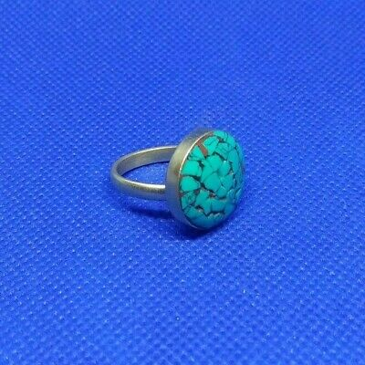 Extremely Rare Detailed Ancient Roman Silver Ring Turquoise Gem Stone Amazing