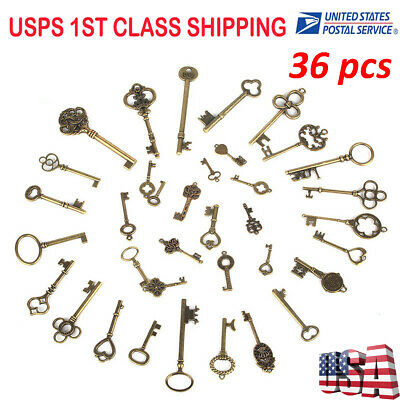Us 36 Antique Style Bronze Skeleton Keys Old Furniture Heart Charms Pendant Lock