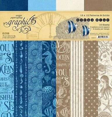 """Graphic 45 Ocean Blue 12"""" Paper Pad Patterns & Solids  12""""x12"""", 16pg, Double Sid"""