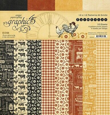 """Graphic 45 Farmhouse 12"""" Paper Pad Patterns & Solids  12""""x12"""", 16pg, Double Side"""