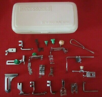 ASSORTED-UNBRANDED SEWING MACHINE ATTACHMENTS-FEET ETC-w/PLASTIC CASE-USED*lot 1