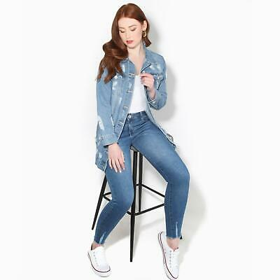 Womens Ladies Lift and Shape Distressed Skinny Jeans Raw Ankle Plain Denim