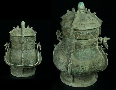 Nov124 Chinese Archaic Bronze Wine Vessel Pot Container Handle