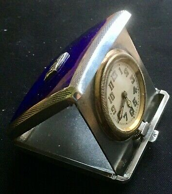 Antique silver and enamel travel clock 1931 in working order