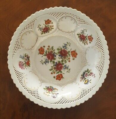 MOGA Porcelain Romania Hand Painted Reticulated Signed Bowl Dish