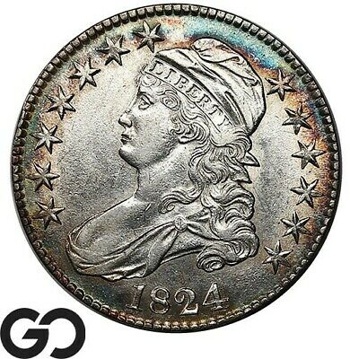 1824 Capped Bust Half Dollar, Nice Mint Luster, Choice AU++ Silver 50c