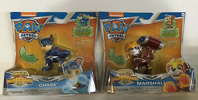 Paw Patrol Mighty Pups Super Paws Chase & Marshall Action Figures Lot of 2