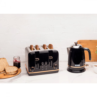 Haden Black and Copper Kettle and 4 Slice Toaster Set