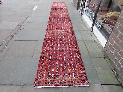 Vintage Traditional Hand Made Oriental Red Wool Very Long Runner 600x84cm