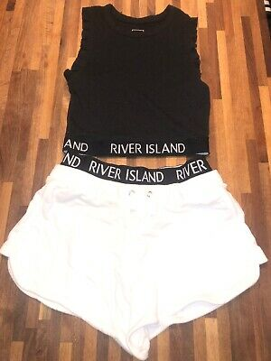 River Island Girls Jersey Shorts and Top Set Age 9-10 Excellent Condition