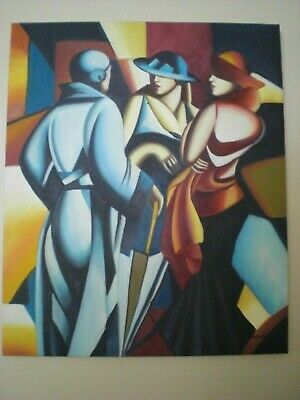 "Beautiful Art Deco Painting On Canvas 20 ""W X 24""L Stapled To 3/75"" Wood Frame"