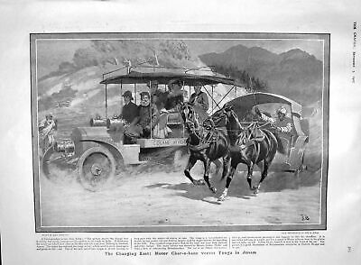 Old Antique Print 1907 Motor Char-A-Banc Tonga Assam Horse Show Submarine 20th