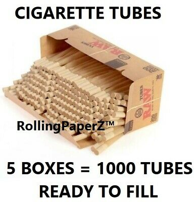 5x Box RAW Classic Cigarette Tube KING SIZE 1000 Tubes Total Natural (not cones)