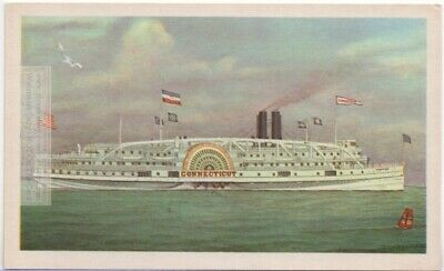 """1889 """"CONNECTICUT"""" Long Island Sound Sidewheel Steamboat  Vintage Card"""