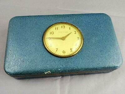 Vintage New Haven Travel Clock Set In The Top Of Jewelry Box Runs Well