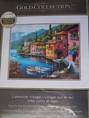 """Cross stitch Kit Gold Collection """"Lakeside Village """" New by Dimensions 15"""" x 12"""""""