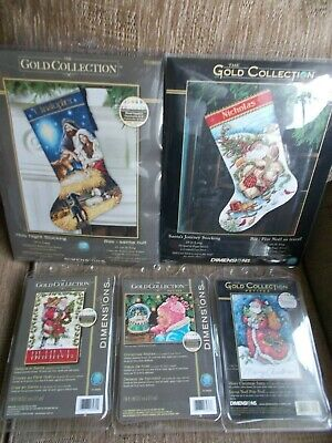"""Cross stitch Kits Gold Collection 5 Kits """" Assorted Designs"""" New by Dimensions"""