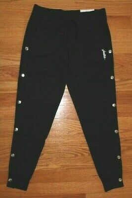 """Justice Girls' Size 10 Decorative Side Snap Black Joggers - """"Justice"""" Graphic"""