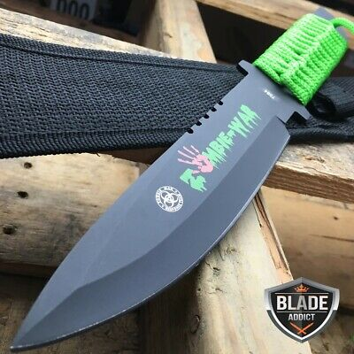 """11"""" Zombie War Tactical Combat Hunting Camping Survival Knife Bowie -F"""
