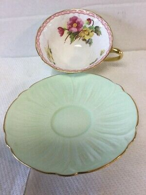 Vintage Shelley Bone China Cup & Saucer Oleander Begonia Green & Gold Edge