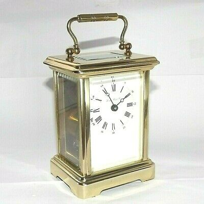 Vintage Key Wind Mechanical Movement French Brass Carriage Clock 11 Jewel 8 Day