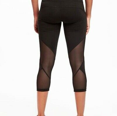 Old Navy Active Go Dry compression mesh cropped leggings pants athletic yoga L