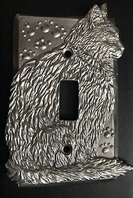 Pewter Cat Kitten Kitty Paw Print Light Switch Plate Cover  Cat Lover