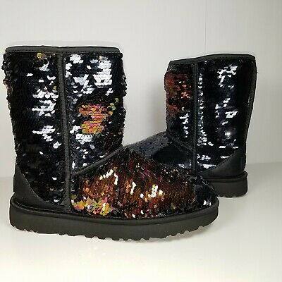 UGG Women boots Classic Short shearling Sequin Fashion pull on black 6 37