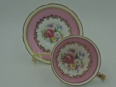 Vintage Paragon Petite Cup & Saucer Pink Roses White & Pink Double Warrant