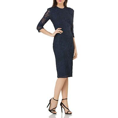 JS Collections Womens Blue Embroidered Night Out Sheath Dress 14 BHFO 8765