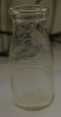 Antique Vintage Pink CREEK DAIRY Carnival Glass Milk Jar Bottle HALF Pint